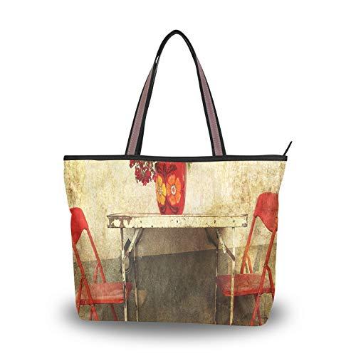 NaiiaN Einkaufstasche Handtaschen Leichter Riemen Rostiger Metalltisch Roter Stuhl für Frauen Mädchen Damen Student Umhängetaschen Geldbörse Einkaufen
