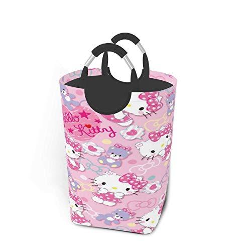 changxin Pink Cute Hello Kitty Wäschekorb Korbbeutel Schmutzige Kleidung Lagerung Wasserdicht Faltbar 50 Liter für Badezimmer Schlafzimmer Schrank