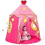 Peradix Château de Princesse Tente pour Enfant et Bebe, Tente d'enfants pour Princess Filles avec Balls,Tente Masison de Cabane pour Enfant Intérieure et Extérieur(Rose)