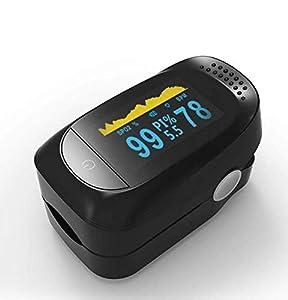 Wottocare. Pulsioximetro medidor de oxígeno en sangre. Oximetro digital de dedo con pantalla OLED. Lectura instantánea, Negro