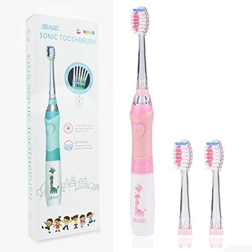 Elektrische Zahnbürste Kinder, SEAGO Batterie Kinderzahnbürste, Weiche Bürste Schallzahnbürste mit Timer für Kinder(Alter von 4+) (Rosa)