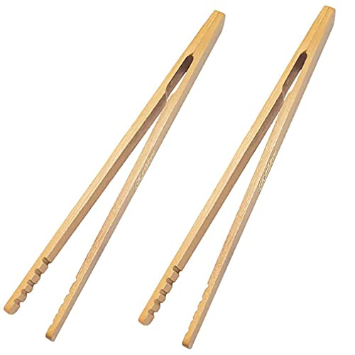 GKanMore 2 Pack 7 Inch Bamboo Kitchen Tongs for Toast Tea Bread Pickle Cooking