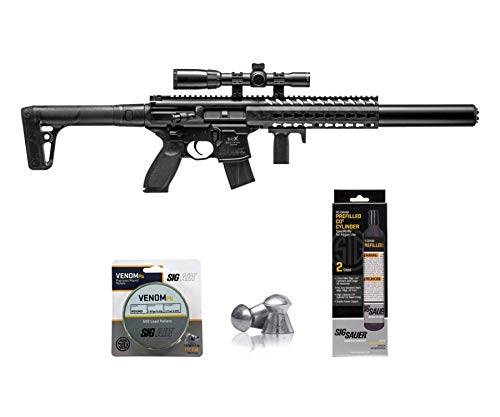 SIG Sauer MCX .177 Cal CO2 Powered Advanced Air Rifle with CO2 90 Gram (2 Pack) and 500 Lead Pellets Bundle (Black, 1-4x24 Scope)