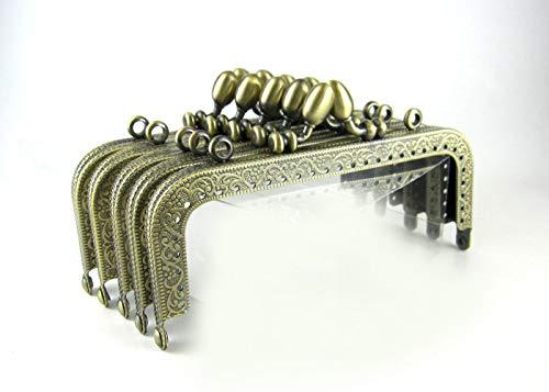 ノーブランド がま口 アンティーク 風 パーツ 角型 くし型 口金 セット どんぐり 選べる 材料 手芸材料 ハンドメイド 角型どんぐり 12.5cm 10個