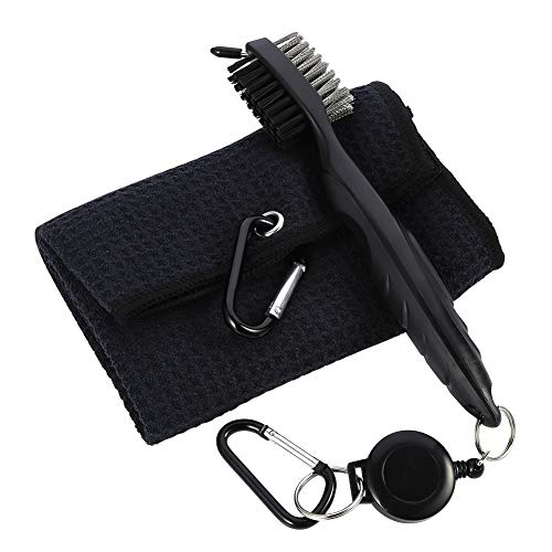 Yorgewd Golfbürsten-Werkzeug und Waffelmuster-Handtuch-Set, einziehbarer Aluminium-Karabiner zum Aufhängen an Golftasche, Golfschläger-Rillenreiniger-Set, Golfball-Reinigungswerkzeug