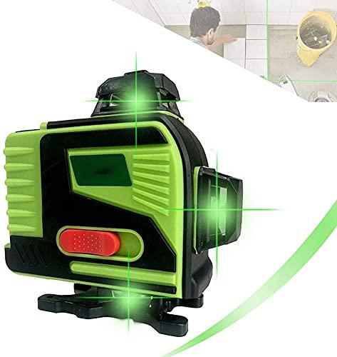 XJYDS 16 líneas Nivel de láser, 4 x 360 ° Línea Cruzada Verde Láser Auto equilibrado, Estuche de Transporte y Control Remoto Incluido, IP 54 Vertical