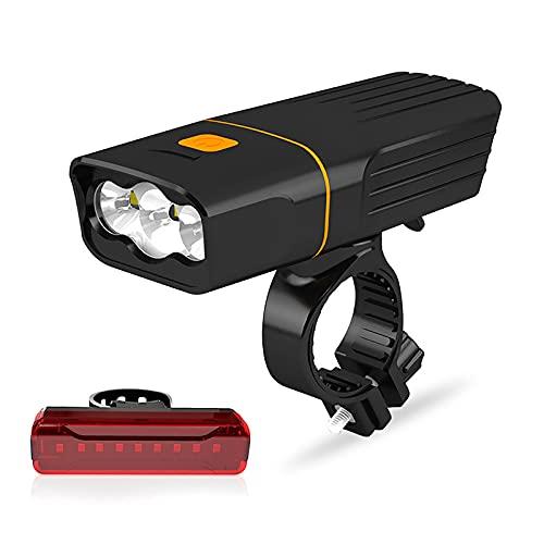 FGKLU 5200mAh Carga USB LED Luces Delantera Bicicleta con Luz Trasera, 2000 Lúmenes Impermeable Luz Bicicleta Bici, para Carretera y Montaña- Seguridad para la Noche