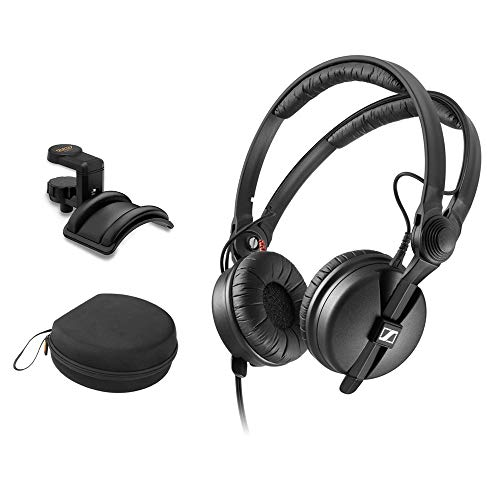 Sennheiser HD 25 Monitor Headphones with Headphone Case & Padded Holder Bundle