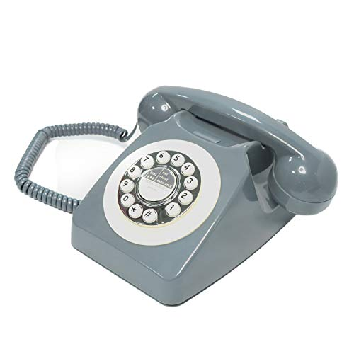 Classic Telephones in The 1970s, Retro Buttons with Hands-Free Function, Large Numeric Keypad Traditional Phone Can Be Used in Hotel/Office/Home/Decoration, Elegant Gray