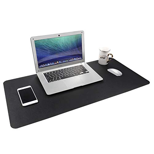 """Gogloo Multifunctional Office Desk Pad, Dual Sided PU Leather Mouse Pad, Thin and Waterproof Desk Blotter Protector, Desk Writing Mat for Office/Home (Black, 31.5"""" x 15.7"""")"""