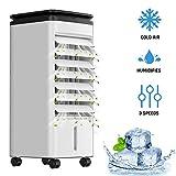 KLIM Fresh - Aire Acondicionado portatil y climatizador evaporativo + Refresca y humidifica el Ambiente + 3 velocidades y oscilación + Incluye depósito de Agua y Botellas congelables + Nuevo 2020