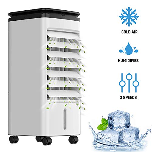 KLIM™ Fresh Climatiseur Mobile + Rafraîchit et Humidifie l'Air + Innovant Climatiseur Portable avec Réservoir d'Eau + Rafraîchisseur d'air par Évaporation + Oscillation et 3 Vitesses + Nouveau 2020