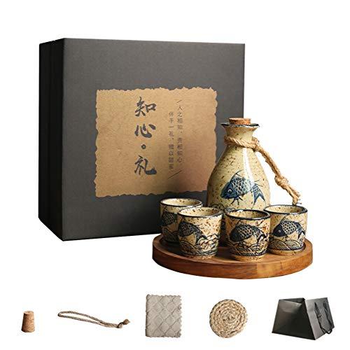 QWEASDF High-End Sake Set, Handmade Artwork, Traditional Ceramic Wine Set, 5-Piece Set (1 Wine Jug, 4 Wine Glasses), Suitable for Pubs, Gifts, Decorations
