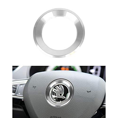 VDARK Lenkrad Logo Kappen Aufkleber Aufkleber Emblem Abzeichen Logo Abdeckung für Skoda Zubehör Innendekoration Metall Octavia Super Karoq Kodiaq GT Kamiq GT 14 15 16 17 18 19 20 (Silber)