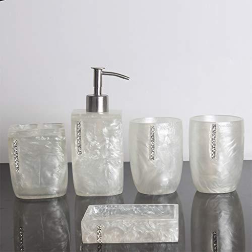 Despachador de Jabón 5 pieza de resina de accesorios de baño set incluye jabón o sostenedor de cepillo de dientes dispensador de la loción, vaso, plato de jabón No encuentra, la comodidad y organizaci