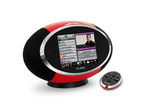 Pure Sensia Lautsprechersystem (DAB/DAB+/Stereo UKW-Radio, 14,5 cm (5,7 Zoll) Touchscreen, W-LAN, 30 Watt RMS) rot