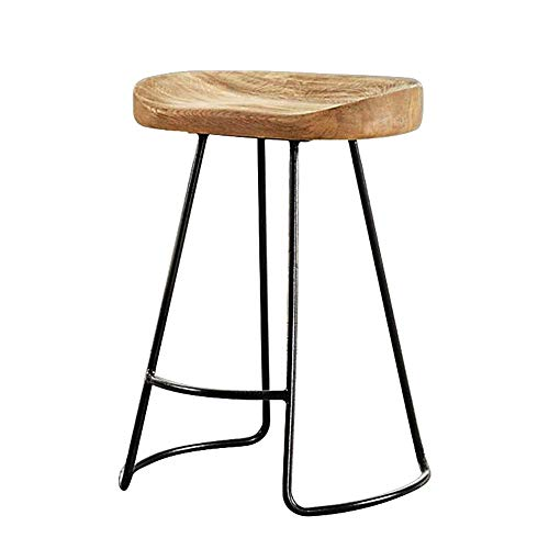 Tokyia Northern Europe Bar Stools Wooden Modern Bar Chair For Breakfast Restaurant Cafe Dinner Bar Chair Living Room Decoration (Color : Brown, Size : 52X44X85CM)