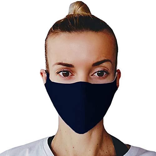 (3, Dunkel Blau) Gesichtsmaske Mundschutz, Baumwoll Stoff Maske, Waschbare Atemschutzmaske, Wiederverwendbarer Mundschutz, Mund Maske Waschbar, Atemschutz, Staubdichte Maske, hergestellt in der EU