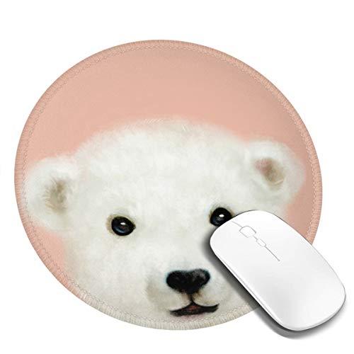 7.9x7.9in ronde muismat bureau schattig kleine witte beer met blauwe sjaal toetsenbord mat grote muismat voor computer desktop laptop