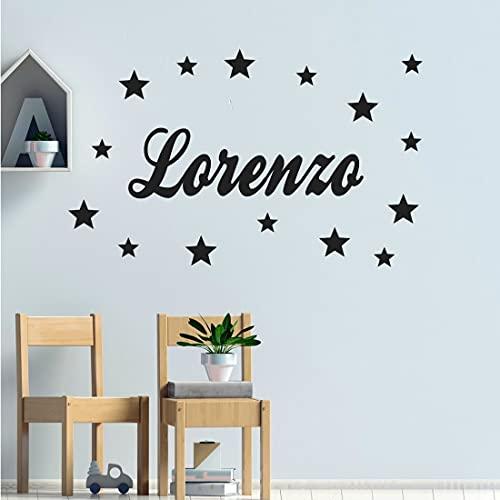 Stickers mural prénom 8 polices au choix + 15 étoiles. Décoration mur chambre enfant/bébé fille ou garçon. 14 couleurs au choix.