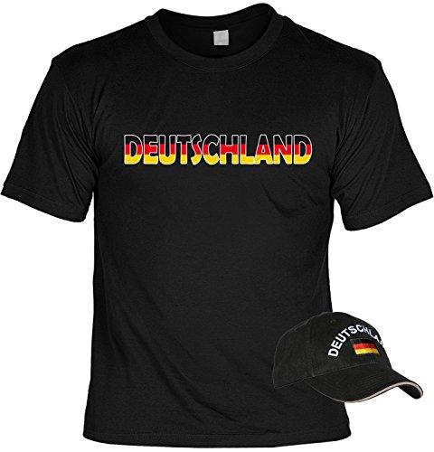 VERI 2-teiliges Fussball WM 2018 Deutschland T-Shirt Fanartikel Set Bundesliga Fan schwarz rot gold Trikot und Cap besticktes schwarzes EM WM CAP Gr. 3XL : -