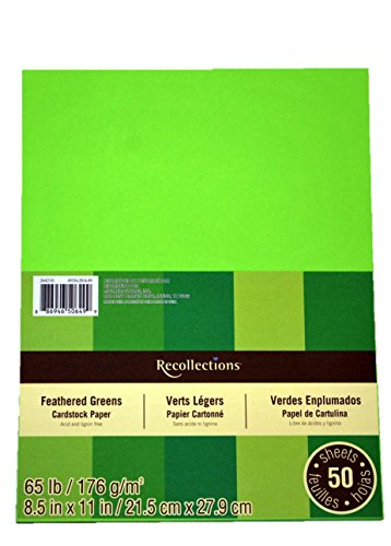 """Recollections Cardstock Paper, 8 1/2"""" X 11"""" in Feathered Greens - 50 Sheets"""