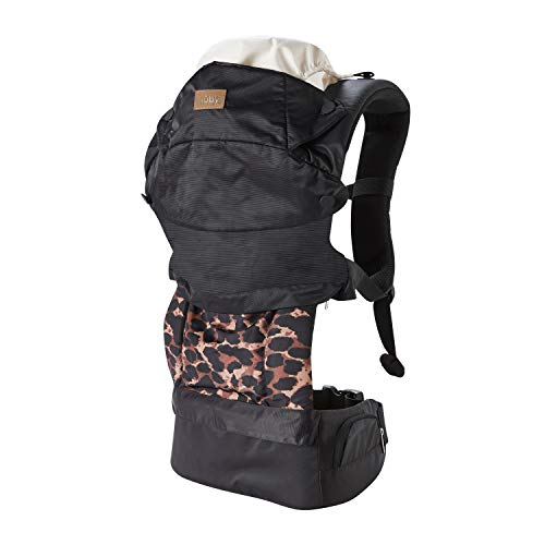 Nuby, Baby Carrier Newborn to Toddler Hip Healthy Certified Baby Carrier 3 in 1 Front and Back Facing Baby Carrier Leopard Print, Black