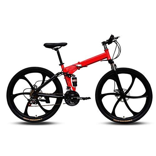 Mountainbikes, Folding High Carbon Steel Frame 26 inch met variabele snelheid in voor dubbele schokdemping Drie Cutter Wielen vouwfiets, geschikt voor mensen met een hoogte van 160-185Cm
