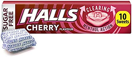 Halls Sugar Free Cherry Menthol Action Sweets 32g