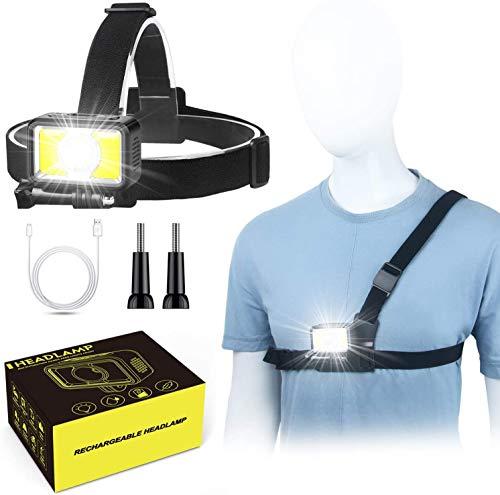 Avaspot Lampada Frontale Luce Corsa,7 Modalità 1000 Lumen Torcia Frontale LED Ricaricabile, Impermeabile Lampada da Testa con Luce di Sicurezza Rossa,Ideale per Corsa Campeggio Pesca Jogging Ciclismo