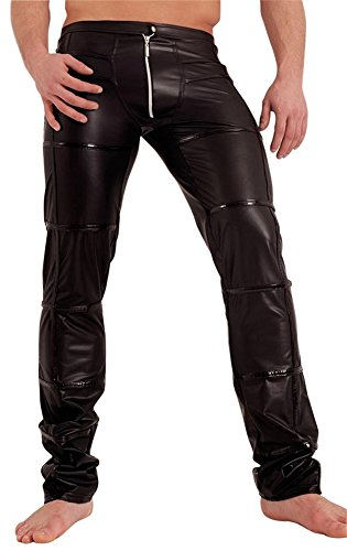Noir Handmade Clubwear Lange Herren-Wetlook-Hose schwarz, Partyhose, mit Zipp Größe Small