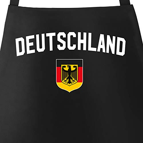 MoonWorks Grill-Schürze für Männer WM Deutschland Flagge Adler Baumwoll-Schürze Küchenschürze schwarz Unisize