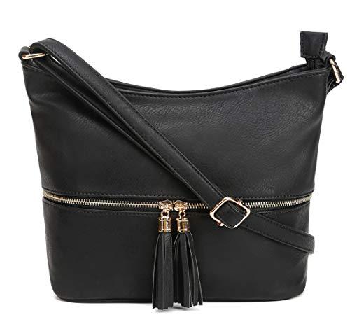 DELUXITY Medium Size Hobo Crossbody Bag with Tassel/Zipper Accent (Black)