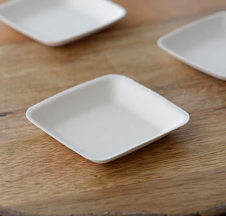 Paquete de 25 cuencos de inmersión ecológicos de 1 onza | Mini ramekins cuadrados de bagazo | elegante pequeño | ollas de degustación de salsas desechables