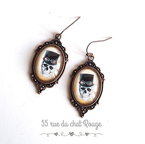 Cabochon-Ohrringe, Totenkopf und Knochen, schwarz und weiß, Kupfer-Finish, Retro-Ohrringe