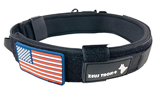 ZeusTacK9 Tactical Dog Collar K9 Pet Dogs - 1.5 Inch Wide Heavy Duty Military Style Dog Collars Metal Buckle Quick Release USA Flag Patch - Control Handle for Handling Training (LRG, BLK)