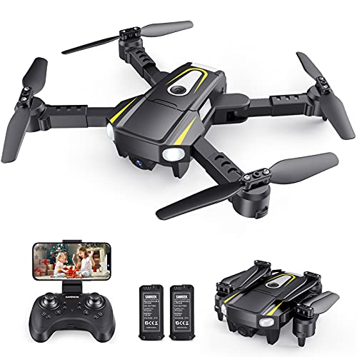 SANROCK H859 Drones for Kids Adults with 1080P HD Camera, Foldable Mini Drones Toys Gifts for Beginners, WiFi FPV RC Quadcopter with Voice Control, Gesture Control, Speed Adjust, 3D Flip, 2 Batteries