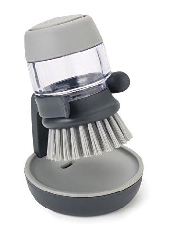 Joseph Joseph Palm Scrub - Abwaschbürste mit integriertem Spülmittelspender, inkl. Ständer - grau