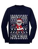 T Shirt de Noel Floss Like Boss Pere Noel Humour T-Shirt Manches Longues Enfant 9/10 Ans 140cm Marine