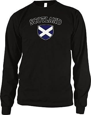 Amdesco Scotland Flag and Shield Men's Long Sleeve Thermal Shirt, Black Large