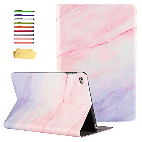 UUcovers Case for Apple iPad Mini 4 Tablet 2015 (Model A1538/A1550) 7.9 inch, Smart Folio Lightweight with Stand Stylus Pencil [Auto Sleep/Wake] Synthetic Leather TPU Back Shockproof Shell, Pink Map