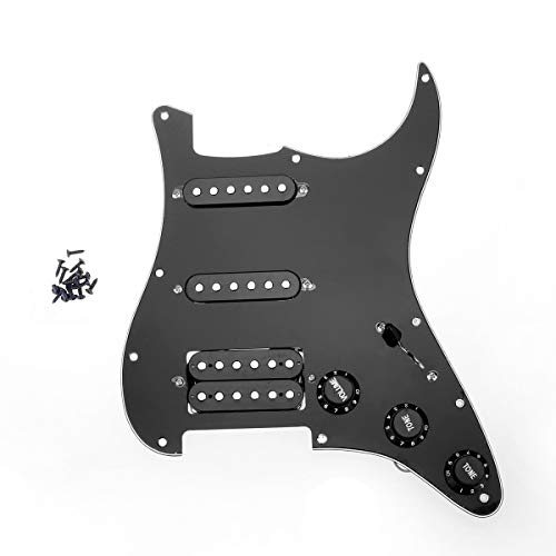 Musiclily SSH Loaded Prewired Guitar Strat Pickguard Humbucker Pickups Set for Fender Stratocaster Electric Guitar,3Ply Black