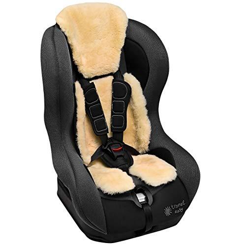 Lammfell Buggy und Autositzauflage von WERNER CHRIST– Kindersitzunterlage, Lammfelleinlage aus medizinischem Fell, für Kinder und Babys, längenverstellbar, Größen: Kindersitze der Gruppe 0-1