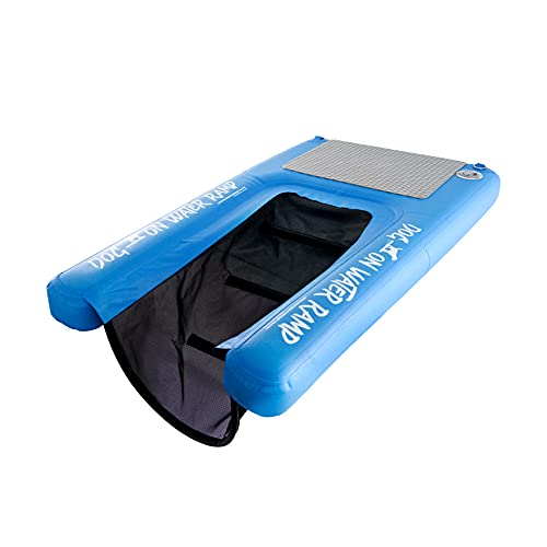 Dog On Water Ramp for Boat, Dock, or Pool. Allows Dogs up to 65lbs to Easily Climb Out of The Water, Floats on The Water with submerged ramp. Inflatable. Portable. Includes Pump, Carry Backpack, Rope.