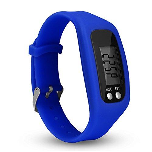 Hmocnv LCD intelligente orologio contapassi fitness tracker Watch semplicemente operazione pedometro corsa con conteggio calorie bruciate e passi, Blue