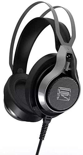 FHW E-sports gaming headset, computer headset headset 3D-geluidskaart USB-interface bekabelde bass stereo microfoon (zwart) koptelefoon