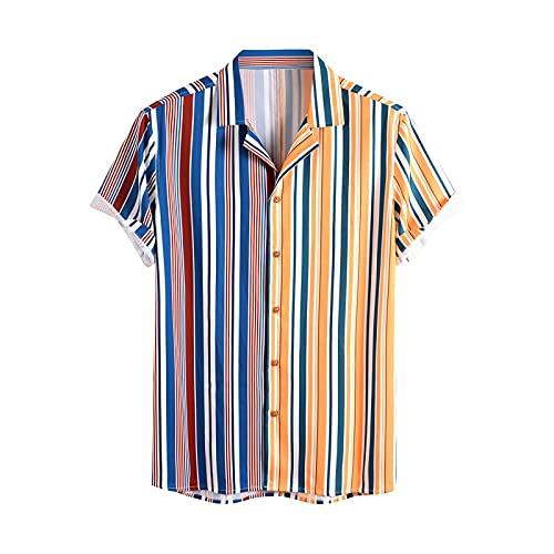 Camisa de hombre a rayas, camisa hawaiana, camisa de manga corta, con botones, cuello vuelto, camisas de playa camisas de ocio C_azul. S