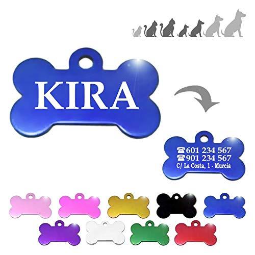 Hueso para Mascotas pequeñas-Medianas Placa Chapa Medalla de identificación Personalizada para Collar Perro Gato Mascota grabada (Azul)