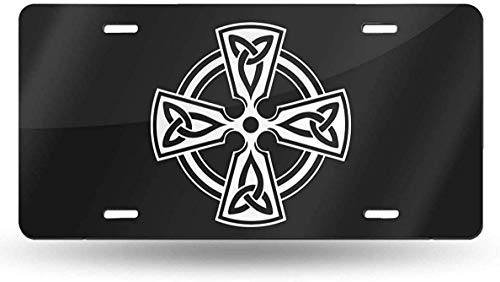 Irish Celtic Cross License Plate Vanity Tag Aluminum Car License Plate 6 X 12 Inch for Most Truck Car Bedroom Decor