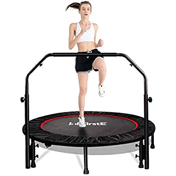FirstE 48  Foldable Fitness Trampolines Rebound Recreational Exercise Trampoline with 4 Level Adjustable Heights Foam Handrail Jump Trampoline for Kids and Adults Indoor&Outdoor Max Load 440lbs